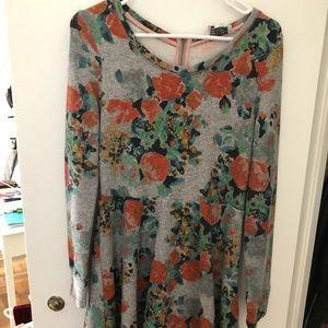 Anthropologie Floral Long Sleeve Dress